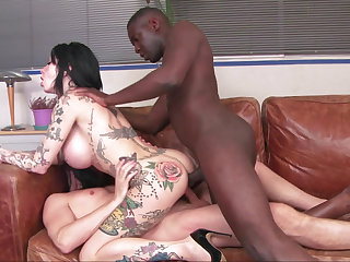 Interracial DP for an inked-up slut