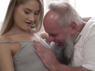 Nubile ultra-cutie vs older grandfather - Tiffany Tatum with the addition of Albert
