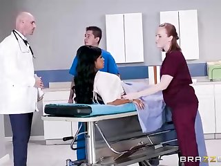 Buxom dark-hued woman with a adorable tat, Mary Jean is taking her doctor's massive man-meat, beside his office
