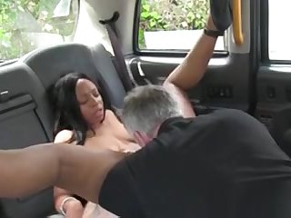 Prexy ebony Brit interracial sex in a skit taxi