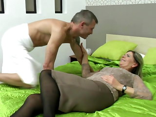 Sexy grandma suck increased by fuck lucky boy
