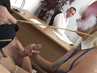Office whore gives her nabob a handjob and gets a juicy facial