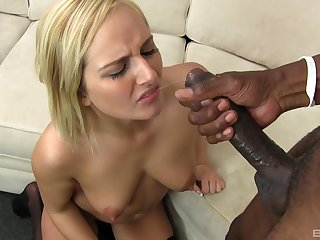 Cum guzzling whore Kate England fed a juicy saddle with from a big black dick