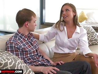 Fake tittied stepmom Britney Amber seduces her tweak and craven stepson