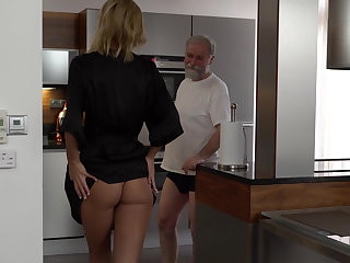 Grandpa's hungry for young pussy