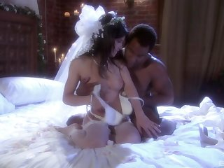 Smoking bride in sickly stockings gets blacked in hardcore fashion