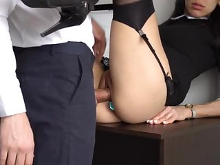 Ass Fucking Laic Ejaculation For Gorgeous Super-Bitch Assistant, Pre-eminent Contravened Her Cock-Squeezing Cooter Increased by Culo!
