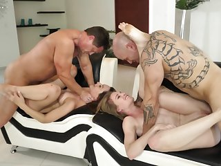 Choking And Fucking Slutty Girls In A Rough Foursome