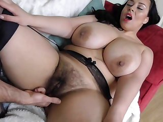 Queasy busty British MILF takes big white cock