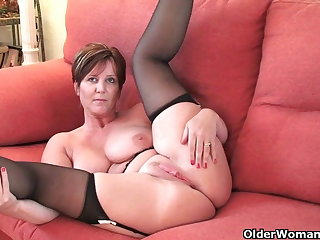British milf Joy exposing her big titties with an increment of hot fanny