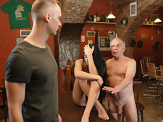 DADDY4K. Old pa seduces beautiful dark hair girl while son..