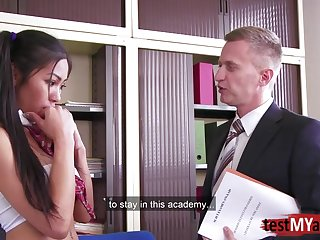 Busty Japanese sexetary is pounded by twosome of bosses in the nomination