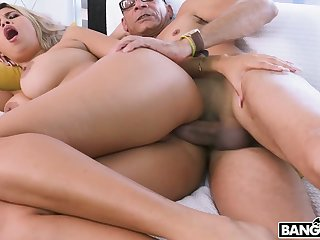 Curly sexy floozy Avril Santana lures nerd to ride his strong cock on top