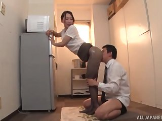 Japanese MILF in pantyhose Kase Kanako oils up together with teases a cock