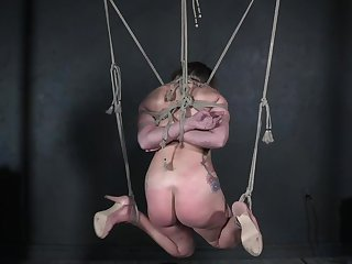 Enslaved teen fucked while firm tied