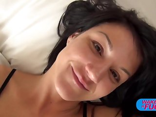 Cutie brushes teeth with a big dick and a huge cumload