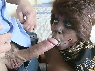 Ebony diva is a transparent master of a blowjob before a doggy style