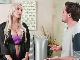 Divorcée milf Nina Elle seduces handsome stepson and gives him a nuru massage