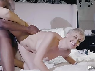 Gorgeous Ryan Keely moves her black panties be required of friend's hard cock