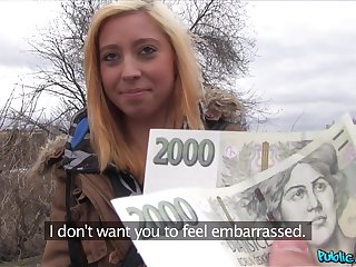Czech comme ci girl gives her fetching pussy for some hard cold cash
