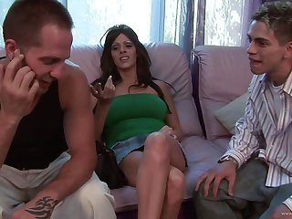 Brunette cougar plays with two cocks and gets her tits jizzed