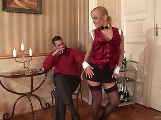 Lovely porn blonde sweetheart Britney gives huge blarney a hot blowjob