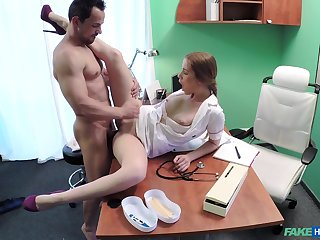 Amateur handsome dude gets a chance to bang appealing nurse