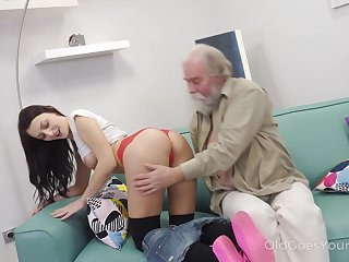 Elderly dude enjoys skunk with an increment be fitting of fucking yummy crack be fitting of whorish student Katy Rose