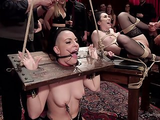 Doms subject Rachael Madori and Aria Alexander to unbelievable BDSM Theatre sides