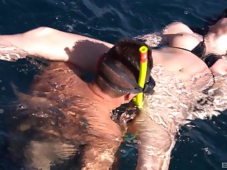 Stunning submerged scuba sex for dirty MILF Sabine Mallory