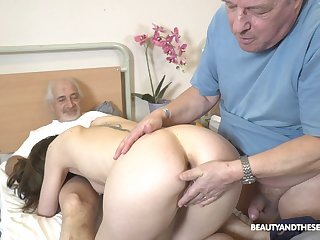 Sweet nurse pleases these old guys with twosome last fuck