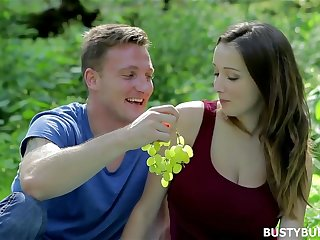 Busty Buffy has romantic sex in an obstacle Forest