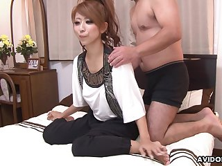 Seductive Asian woman Haru Sakuraba gets facial after steamy pussy pounding
