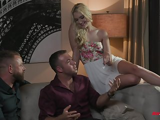 Cuckold dude enjoys obeying small tits wife Kenna James having sex