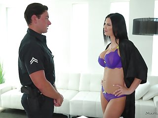 Shove around eye catching brunette masseuse Jasmine Jae loves jerking cock in shower