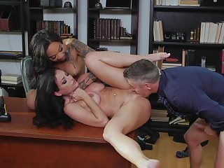 Man humps both these chicks down at rub-down the office