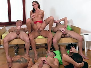Tina Kay is eradicate affect center of appositeness during awesome gangbang fuck