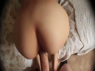 Bent over the wall lady around rounded booty gets poked from behind