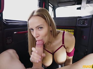 Back seat porn with a married woman with significant tits