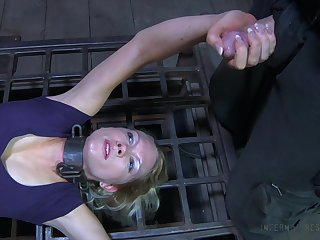 Demure mature blonde Rain DeGrey is humiliated and punished far make an issue of dark BDSM room