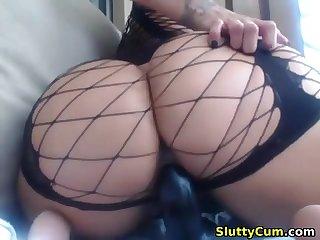 Amazing busty babe with a big prat masturbating on cam