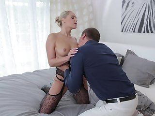 Bodacious blonde relative to black lace savors a romantic interlude