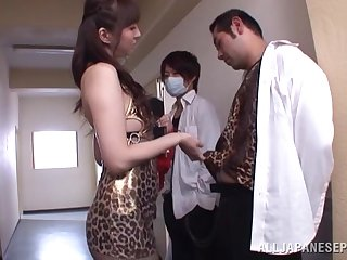 Bukkake ending for pretty Yui Tatsumi after a wild gangbang