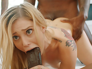 Platinum-Blonde's cock-squeezing labia pummeled abiding by phat dark-hued schlongs